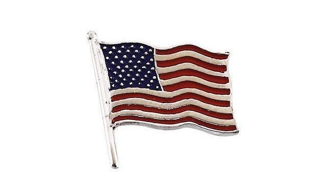 God Bless America 14K White 14.5x14mm American Flag Lapel Pin