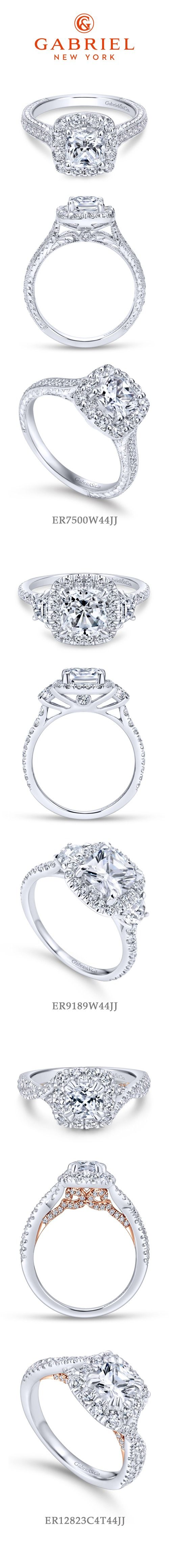 Gabriel NY - Preferred Fine Jewelry and Bridal Brand. Our Top 3 Cushion Cut Engagement Rings! 1) Vintage 14k White Gold Cushion Cut Halo 2) 14k White Gold Cushion Cut 3 Stones halo 3) 14k White Gold/Rose Gold Cushion Cut Halo