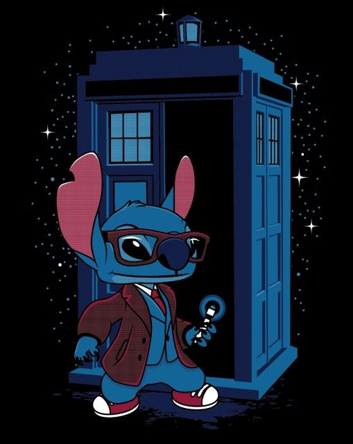 A Doctor Who t-shirt featuring Stitch from Lilo Stitch as Doctor Who. Art by DeardenDesign/Matt Dearden.