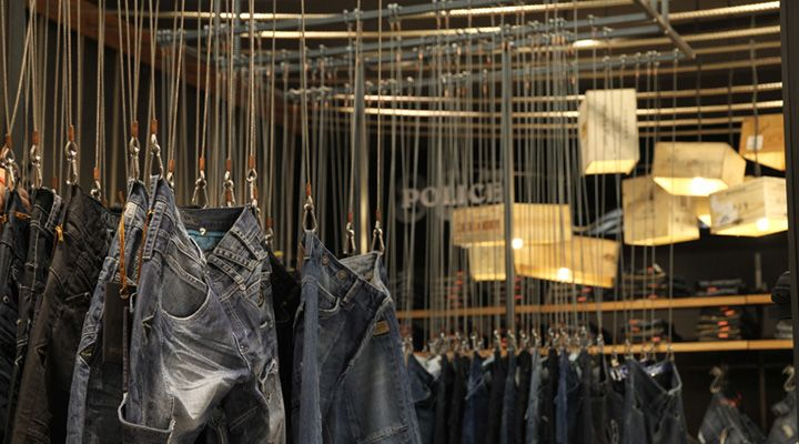 USC stores by Four by Two store design - most unique way I've seen to display jeans.  Carabiners clipped to the belt loops, suspended on a cable from the ceiling.