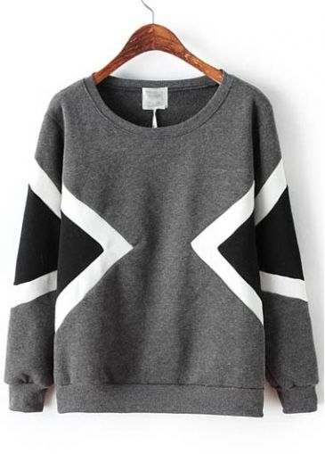 Trendy Round Neck Long Sleeve Sweats with Print - USD $21.57