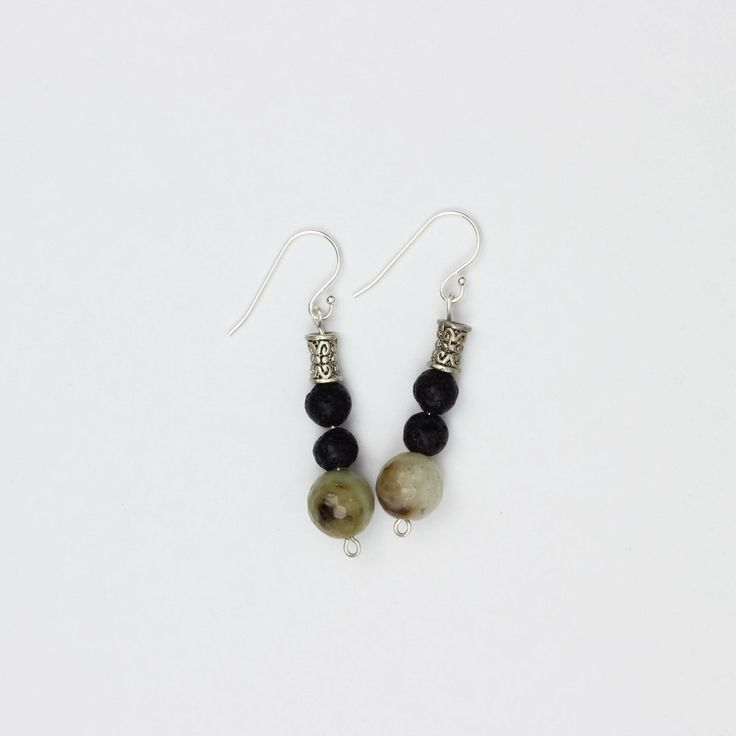 Irresistible Earrings in brown | Made with lava stone for diffusing essential oils, amazonite, Tibetan silver and sterling silver findings
