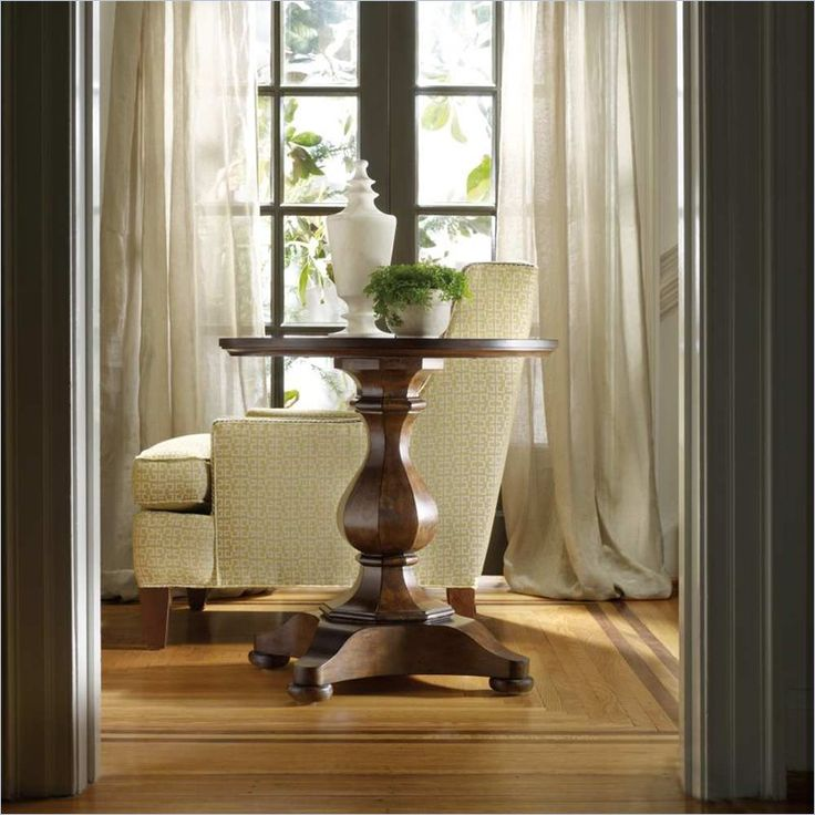 Hooker Furniture Classique Round Pedestal End Table In Medium Chestnut    5067 80116   Lowest