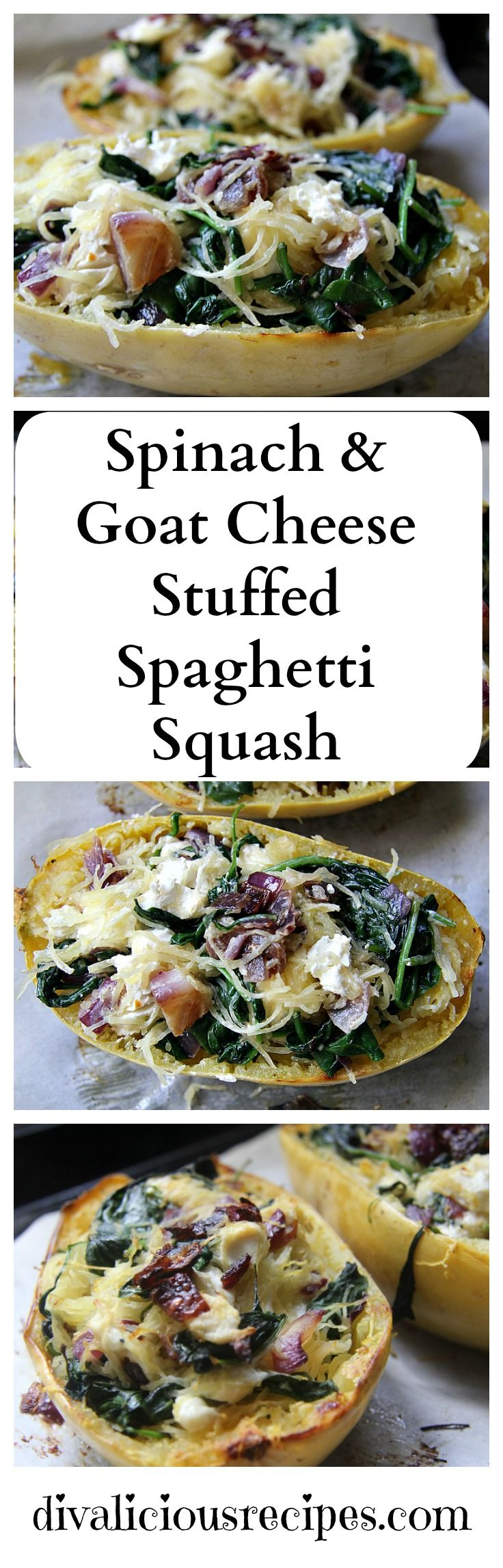 This stuffed spaghetti squash recipe is flavoured with spinach and goats cheese to make a hearty vegetarian dish. All the colours of autumn on your plate.
