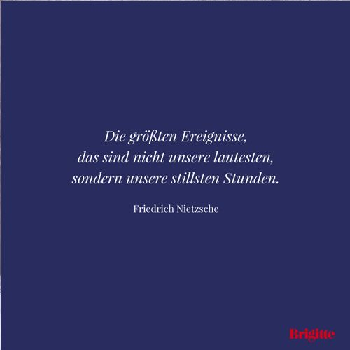 Die größten Ereignisse, das sind nicht unsere lautesten, sondern unsere stillsten Stunden. - Friedrich Nietzsche