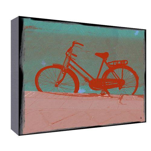 Green Leaf Art Female Bike Wall Art - in Golden Gate colors. (And the bike has a full chaincase!)