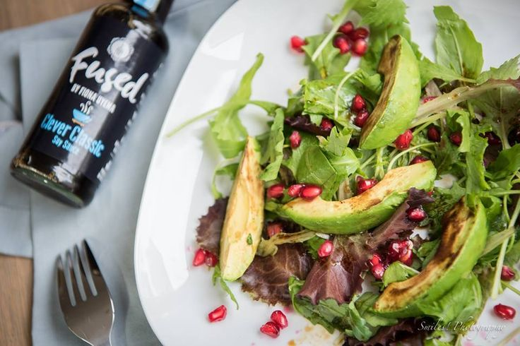 Grilled Avocado & Pomegranate Salad with Fused Clever Classic soy sauce www.facebook.com/fusedbyfionauyema