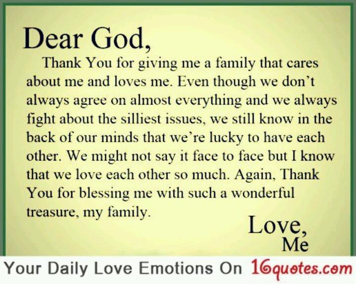 Dear God, Thank You For My Family.