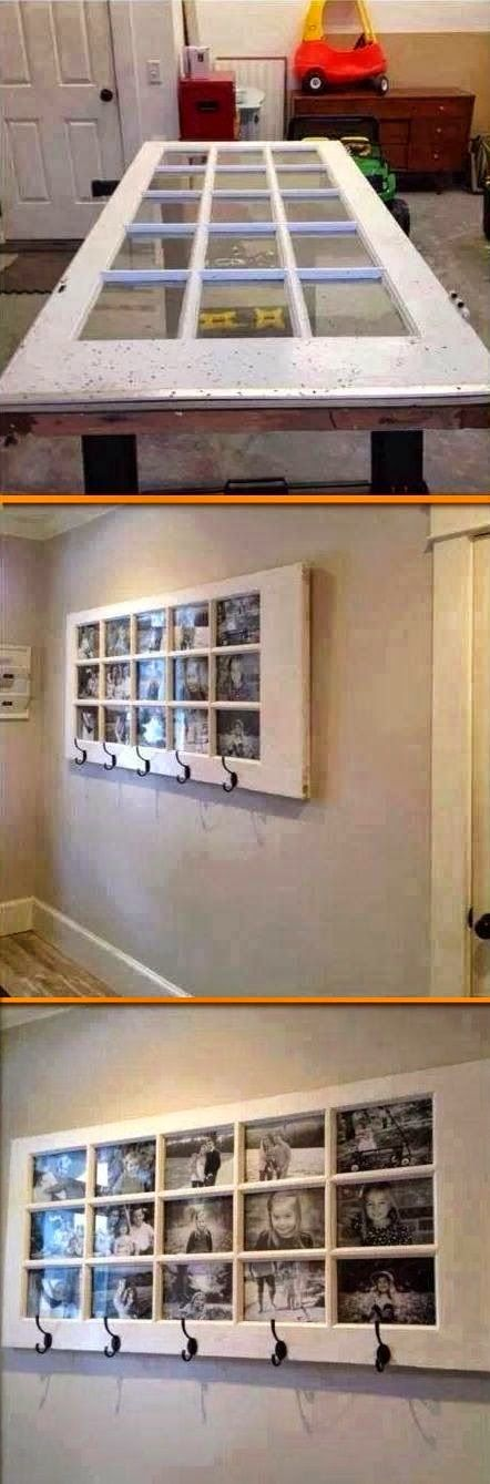 Best DIY Projects: Awesome way to reuse an old door. Unique picture frame. #DIY. Recycler fenetre en pèle mêle porte manteau