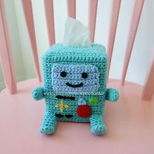 Adventure Time Bee-Mo BMO Inspired Crochet Kleenex Tissue Box Cover Amigurumi