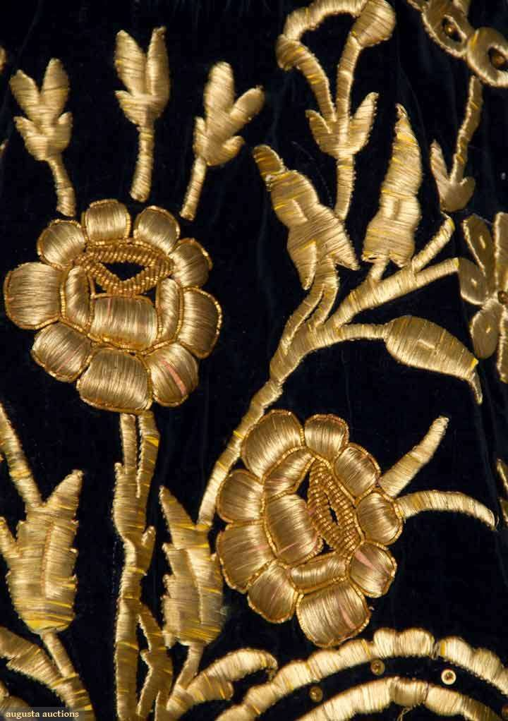 Gold embroidery goldwork blue velvet card
