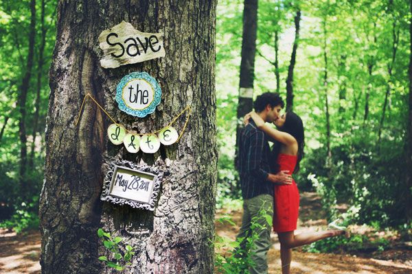 Creative Photo Save the Dates | Wedding Planning, Ideas & Etiquette | Bridal Guide Magazine. Love this save the date because it ties in with the outdoor/rustic theme