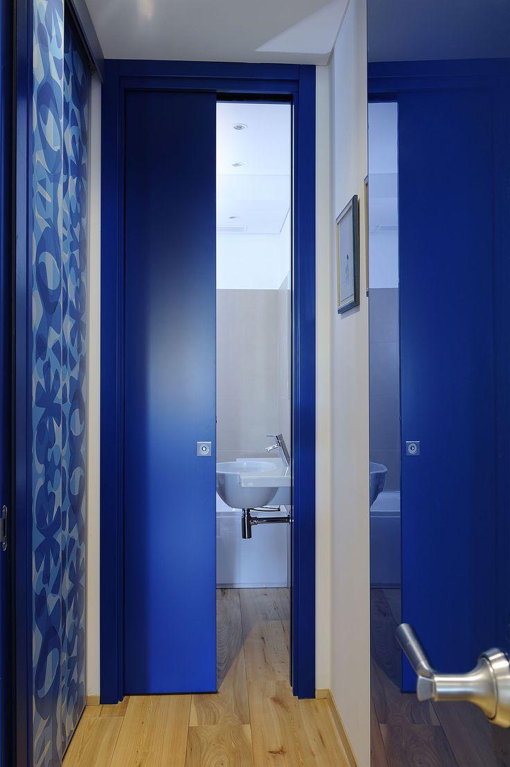 Bathroom pocket doors - Eclisse Unico Single Pocket Door Bathroom Dark Blue Door Cool And Calming Color