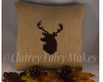 Stag head knitted cushion, country design decor, Scottish stag cushion, Highland stag cushion, Wildlife cushion, Stag pillow, Scottish decor