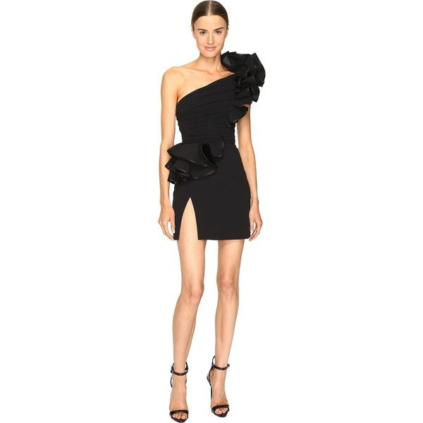 DSQUARED2 Colby One Shoulder High Ruffle Dress (Black) Women's Dress ($3,645) ❤ liked on Polyvore featuring dresses, sheath dress, sheath cocktail dress, ruffle dress, frilly dresses and ruffle cocktail dress