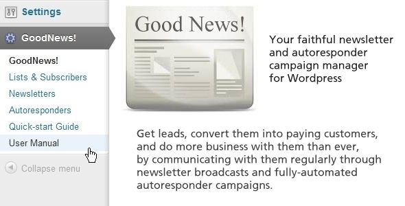 GoodNews! - newsletter and autoresponder manager   http://codecanyon.net/item/goodnews-newsletter-and-autoresponder-manager/4826368?ref=damiamio       Get leads, convert them into paying customers, and do more business with them than ever, by communicating with them regularly through newsletter broadcasts and fully-automated autoresponder campaigns.   GoodNews allows you to get leads, convert them into paying customers, and do more business with them than ever, by communicating with them…