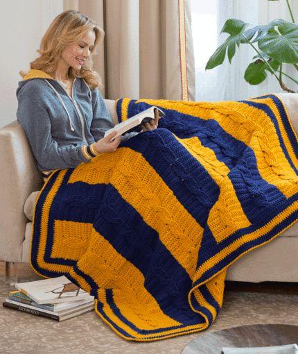 School Colors Blanket Crochet Pattern | Red Heart