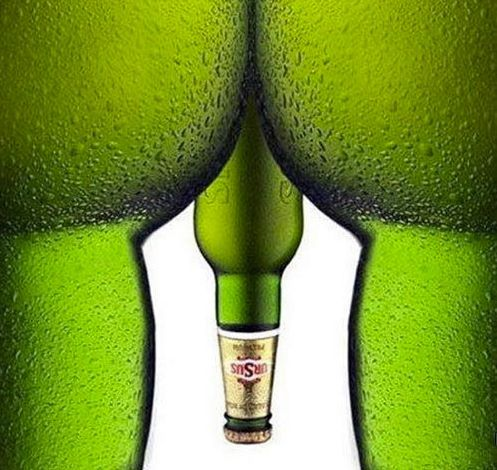 "We're not really a fan of this since it's just a more vulgar version of the Heineken ""bottoms up"" advertisement."