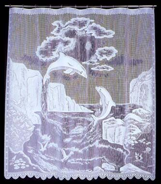 U0027One Of A Kindu0027 Dolphin Lace Shower Curtain