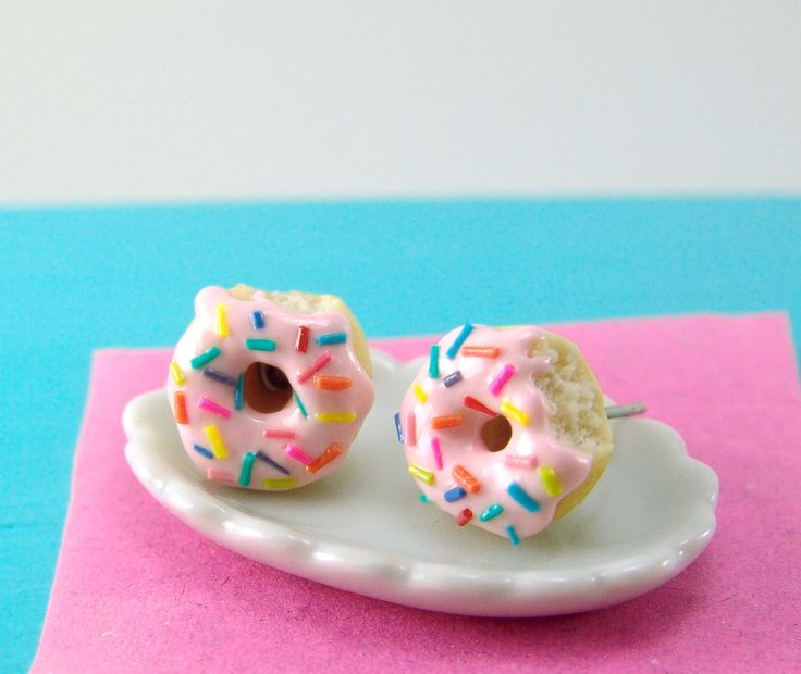 The Mouse Market - Donut Earrings with Rainbow Sprinkles Strawberry Icing MADE TO ORDER, $24.50 (http://www.themousemarket.com/donut-earrings-with-rainbow-sprinkles-strawberry-icing-made-to-order/)