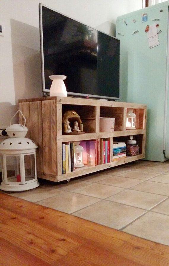 soporte de la tv hecha a mano de madera de palet, consola de los medios de comunicación, centro de medios, enterteiment, gabinete