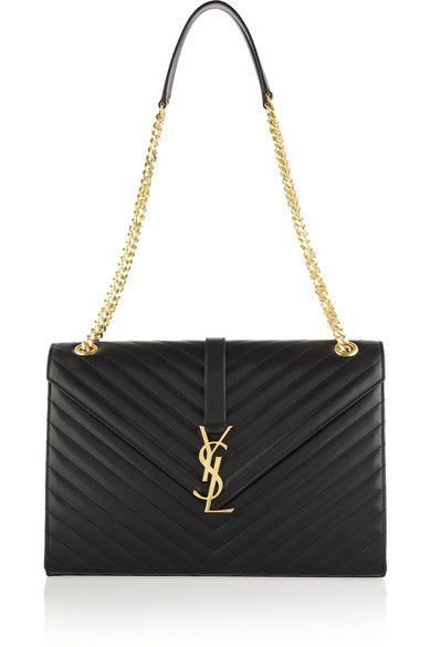 a8762a132273 Saint Laurent  Cassandre  Large Quilted Leather Shoulder Bag With Brand s  Iconic Logo.