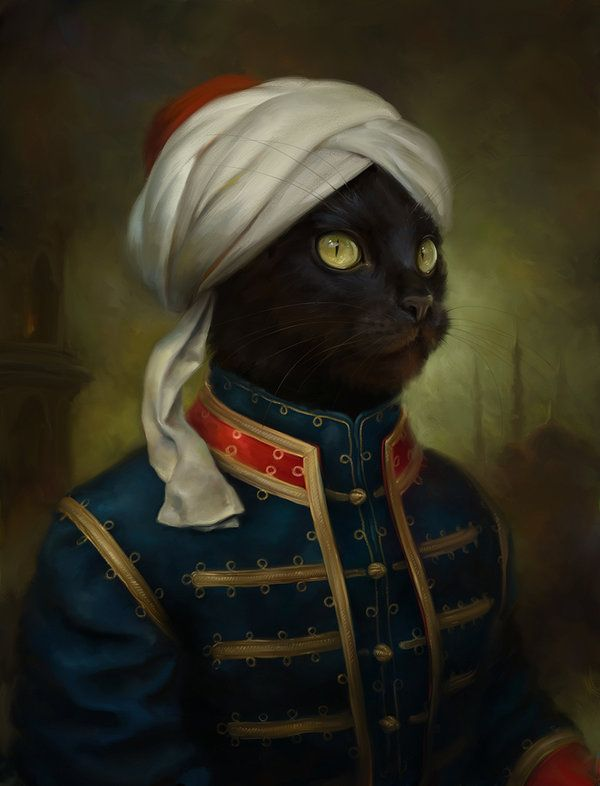 corsetsandcogs:  uggly:  Regal Cats in Oil by Eldar Zakirov  #Caturday