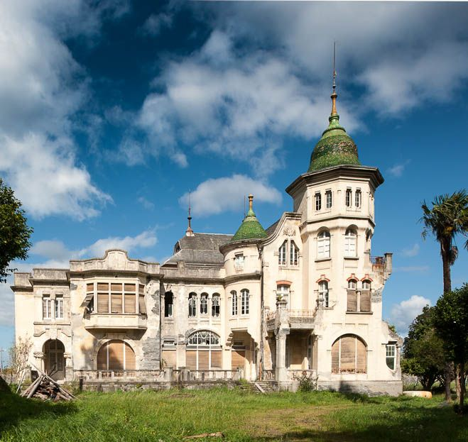 Abandoned in Luarca, Spain, the Villa Excelsior. Built in 1912 by Cuban born architect Manuel de Busto for the Andes family - Manuel Andes inherited his fortune from his wealthy uncle, who had made his money in the Argentinian tobacco industry. He maintained his lavish mansion and tended to the family business until 1914 when he died in a boating accident. His wife and children stayed on in the estate until expenses forced it's eventual decline and abandonment.