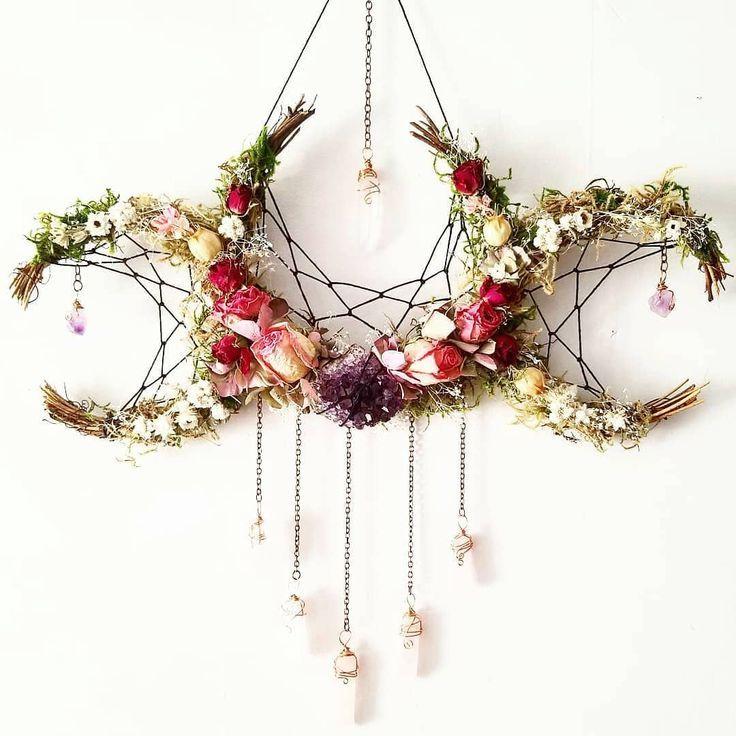 Beautiful Triple Moon Wreath Sabbats Beltane Dream Catcher