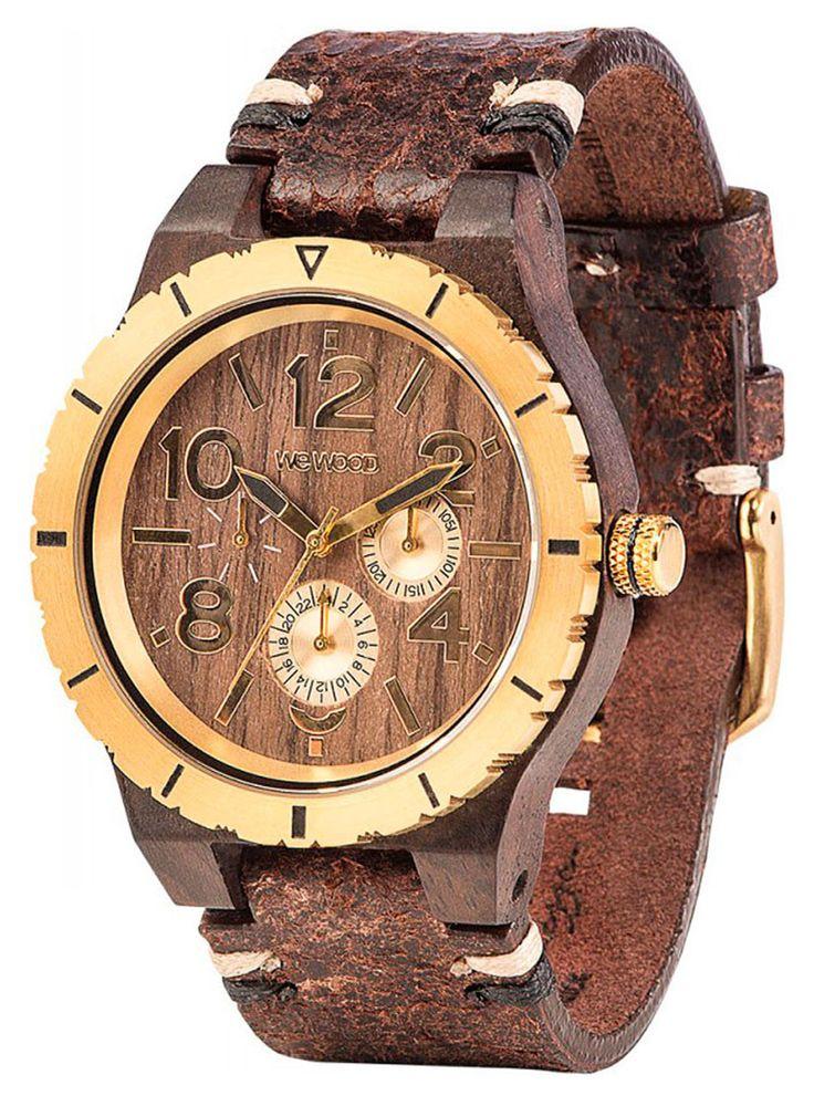Wewood Holzuhr Lederarmband braun Herren Armbanduhr WW59001, Schweizer Uhrwerk, Holz Uhrengehäuse, Leder-Armband mit Dornschließe, Durchmesser 45 mm, Höhe 11 mm, Gewicht ca. 56 g, Datumsanzeige, 24 Std.-Anzeige