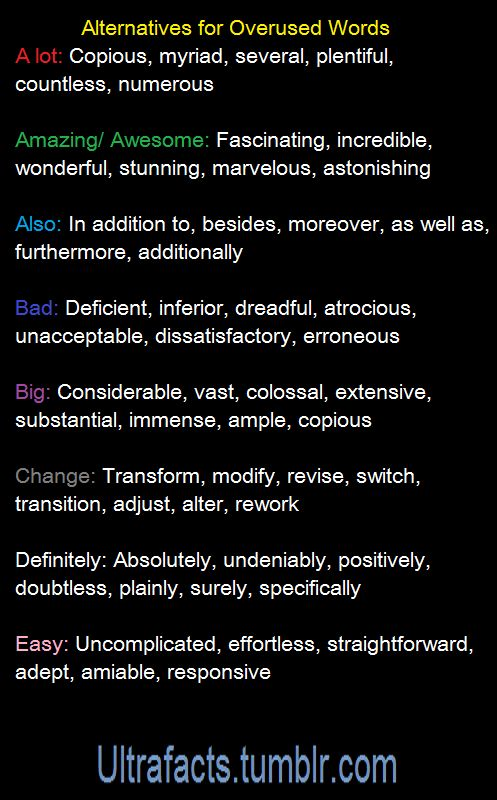 Alternatives for overused words (1)