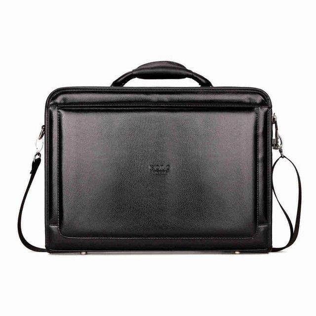 VICUNA POLO Black Mens Briefcase Bag With Calculator Code-Lock