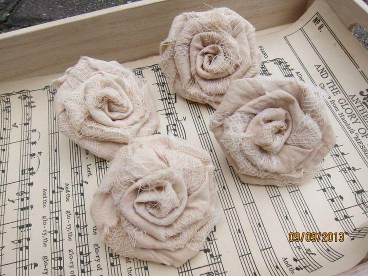 4pcs-Tattered Muslin Fabric Roses/Tea-dye Muslin Fabric Roses/Handmade Fabric Roses/ by msgardengrove1 on Etsy https://www.etsy.com/listing/162123638/4pcs-tattered-muslin-fabric-rosestea-dye
