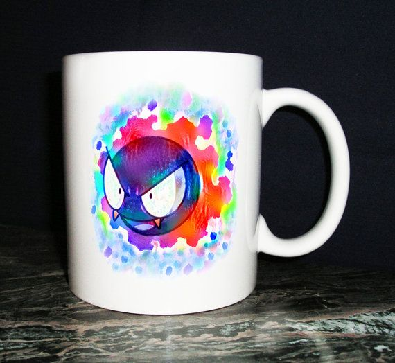 Gastly Pokemon-themed Coffee Mug by KirkwoodBowls on Etsy