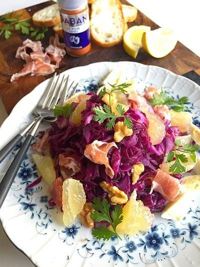 豊菜大盛りモーニングサラダ! 紫キャベツ、胡桃、生ハム、ニューサマーの爽やかサラダ #金魚の肴