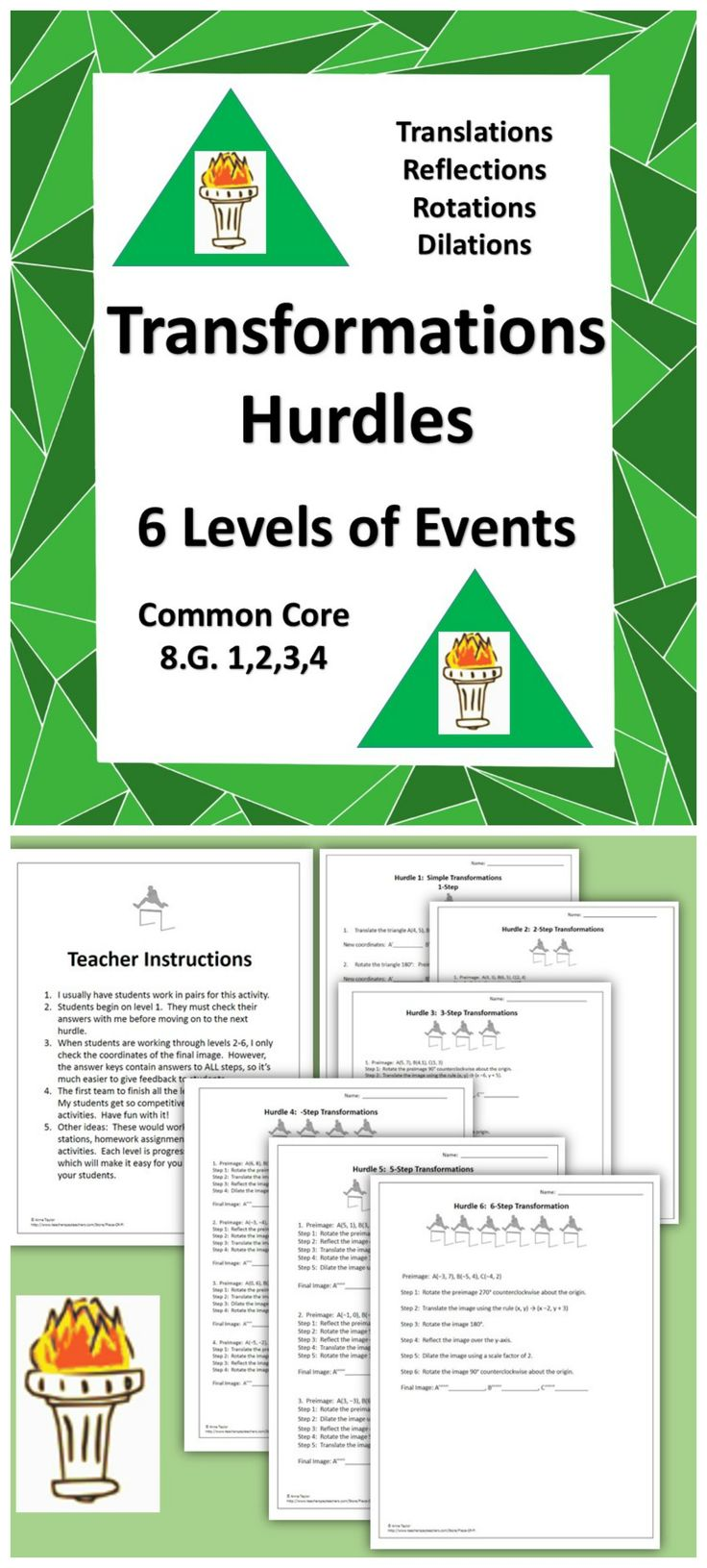 worksheet Combined Transformations Worksheet 54 best transformations images on pinterest teaching ideas high its the hurdles translations rotations reflections dilations common core 8