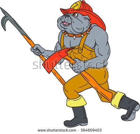 Drawing sketch style illustration of a bulldog firefighter fireman holding pike poke and fire axe walking viewed from the side on isolated white background.  #firefirghter #sketch #illustration