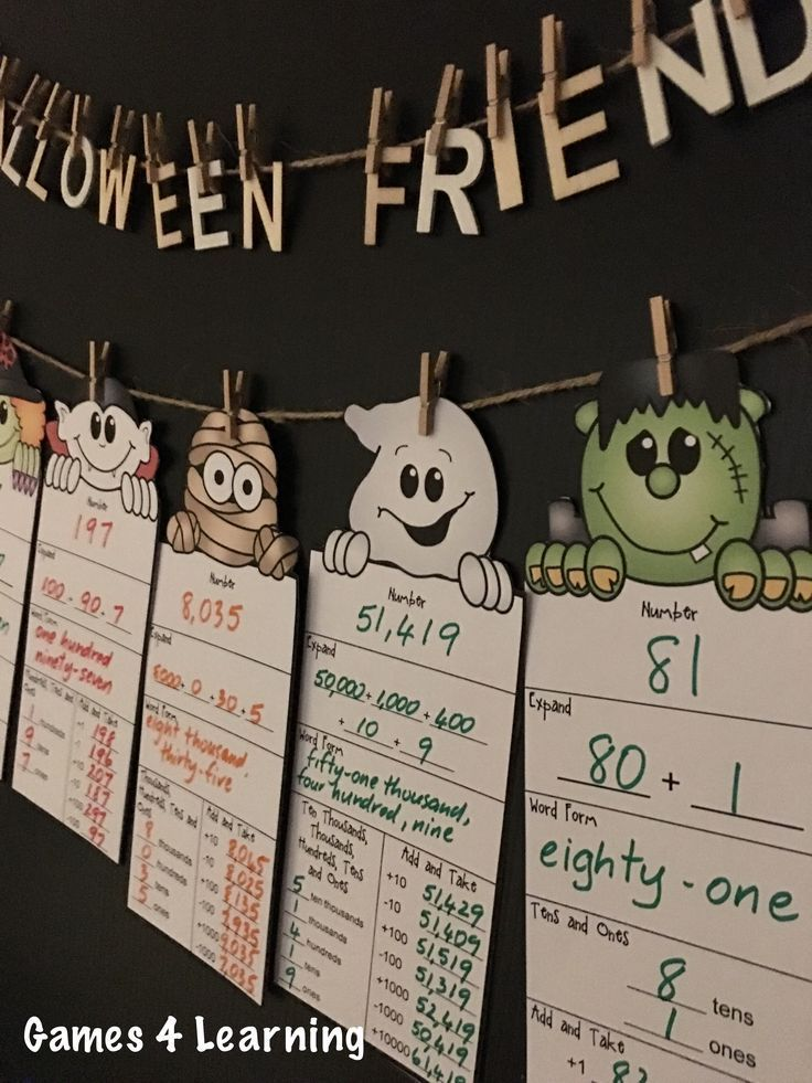 halloween math activities halloween place value and number friends colors places and place. Black Bedroom Furniture Sets. Home Design Ideas