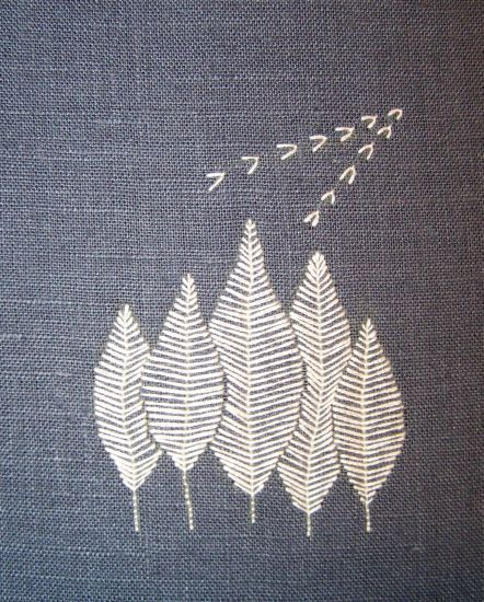 Simple and modern embroidery design - The white floss really pops on the dark fabric.