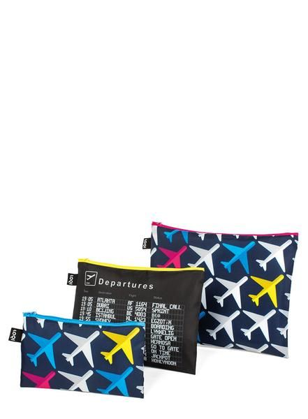 #AIRPORT Airplane Zip Pockets# An array of airplanes already airborne. A final call for a flight to Vancouver. Beijing is just beginning to board. It's up, up and away with the AIRPORT collection.