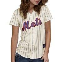 Majestic New York Mets Womens Replica Jersey in White Pinstripe