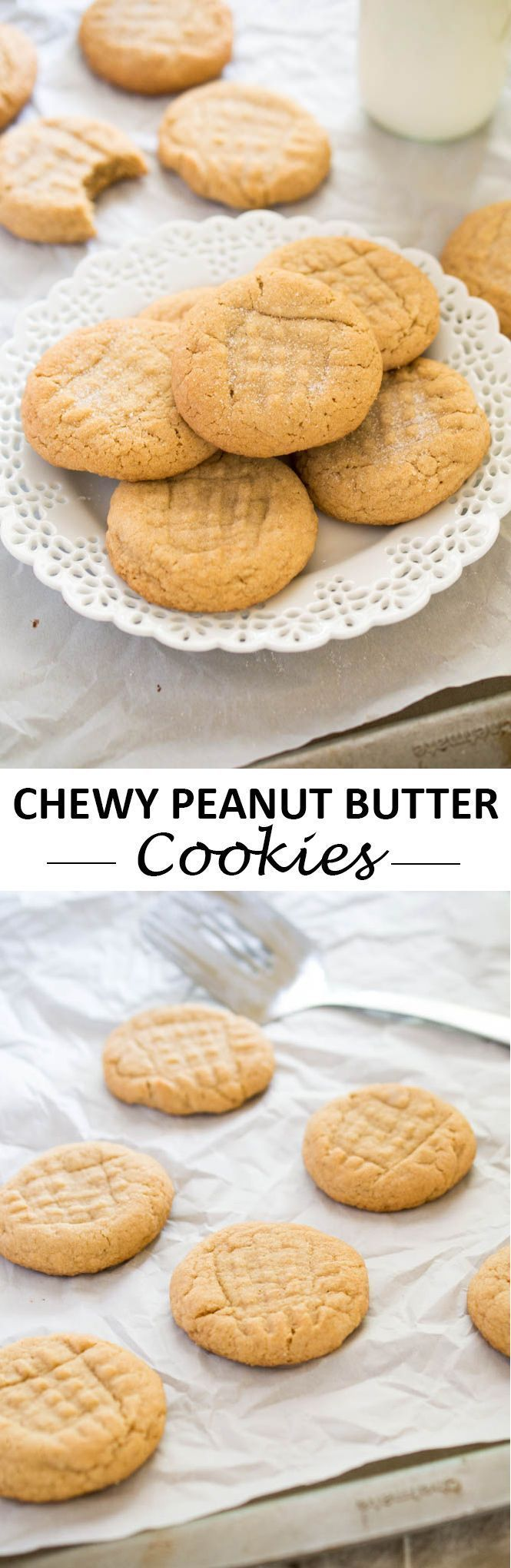 Quick and Easy Chewy Peanut Butter Cookies. These cookies are super thick, melt in your mouth and can be made in 20 minutes or less! | chefsavvy.com #recipe #peanut #butter #cookies #dessert