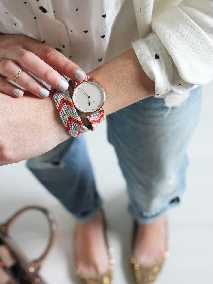 Une touche de rose: blog mode, DIY, cuisine, beauté: Friendship bracelet for your watch :: DIY