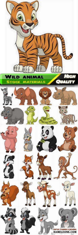 Забавные животные: белка, заяц, крокодил, лев, тигр, зебра, свинья, волк, лиса - векторные иллюстрации | Cute cartoon wild and farm animal