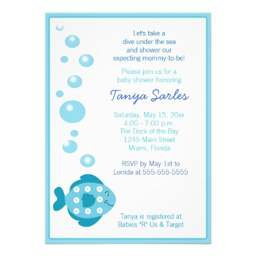 21 best baby shower invitations fish images on pinterest baby little fishy ocean 5x7 baby shower invitation filmwisefo Image collections