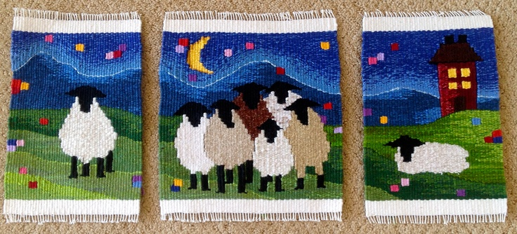 """Midnight Gang"" Handwoven Sheep Tapestry #sheep #tapestry #weaving #fiber #art"