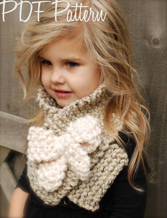 Knitting PATTERNThe Bowlynn Scarf Toddler Child by Thevelvetacorn, $5.50