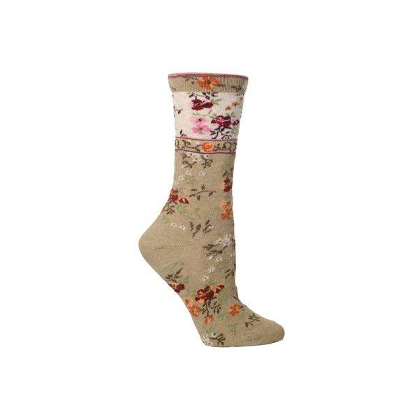 Women's Ozone Mona Linen (2 Pairs) ($25) ❤ liked on Polyvore featuring intimates, hosiery, socks, beige, casual footwear, casual socks, linen socks, floral socks, ozone socks and beige socks
