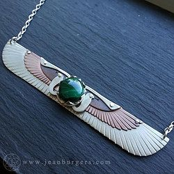 Multi-Layered Winged Disk Pendant with Malachite from Egypt