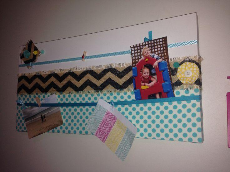 Photo board, hair clip board, hessian, chevron... Made by A Little Bird Design